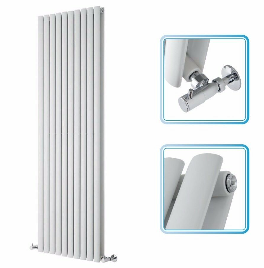 WHITE VERTICAL DOUBLE OVAL TUBE RADIATOR 1780 X 590 MM