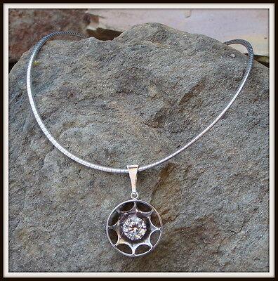 Vintage Modernist Finnish Kultaseppa Salovaara Ky Silver Rock Crystal Necklace