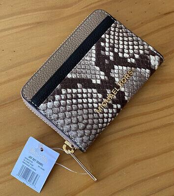 Michael Kors Jet Set Dark Khaki Python Leather Small Card Case Wallet Purse