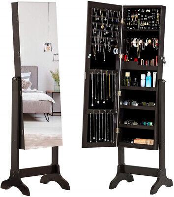 Lockable Full Length Mirror Jewelry Cabinet Dressing Armoire Organizer Storage Mirror Jewelry Organizer