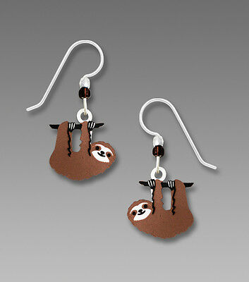 Sienna Sky Hanging SLOTH EARRINGS STERLING Silver Hand Painted Dangle + Gift Box