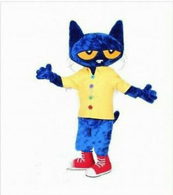 Cute The Blue Cat Mascot Costumes Character Party Dress Animal Halloween Suit uk