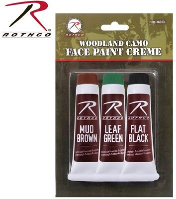 Woodland Camouflage Face Paint Make-Up Kit Halloween Airsoft Rothco 8203 - Paint Camouflage Face Halloween