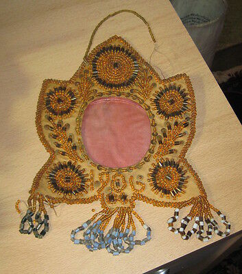 dated 1906 Native American Iroquois  beaded leaf shape fabric frame or mirror