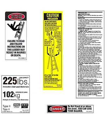 10 Pack - 225lb. Fiberglass Step Ladder Safety Labels Kit - Werner