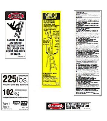 10 Pack - 225lb. Fiberglass Step Ladder Safety Labels Kit - Werner