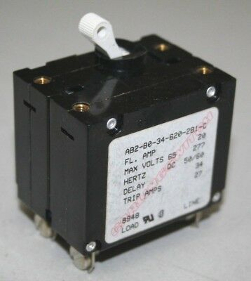 Carling AB2 Series 20 Amp Double Pole Circuit Breaker - AB2-B0-34-620-2B1-C