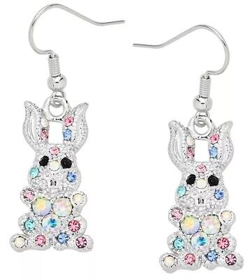 EASTER BUNNY RABBIT COLORFUL RHINESTONE EASTER EARRINGS Easter Bunny Rabbit Earrings