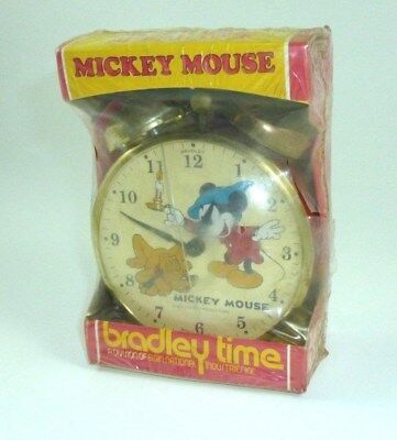Vintage NOS Bradley Double Bell Alarm Clock Mickey Mouse Pluto Wind up