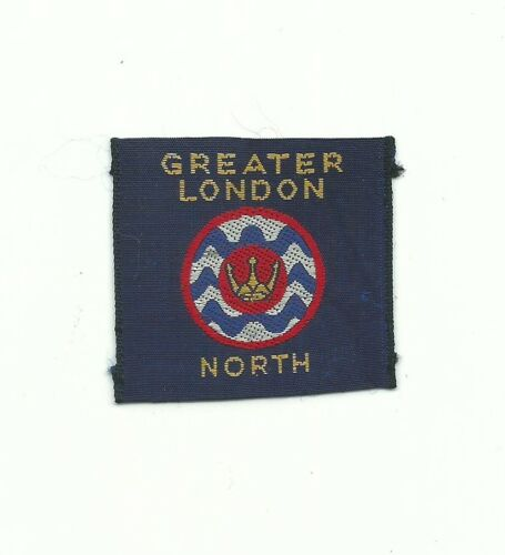 BI UK SCOUT GREATER LONDON NORTH BLUE WOVEN PATCH GREAT BRITAIN ENGLISH BADGE !!