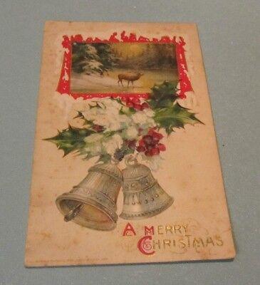 John Elk (1911 John Winsch Elk and Bells Embossed Merry Christmas Holiday Vintage Postcard)