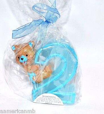 Baby Boy 2nd Second Birthday Candle Number Two #2 Cake Topper Blue Teddy Bear - Number 2 Candle