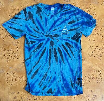 Mens HUF Short Sleeve Tie Dye Graphic Crew Neck Tee T-Shirt Size Small EUC Blue