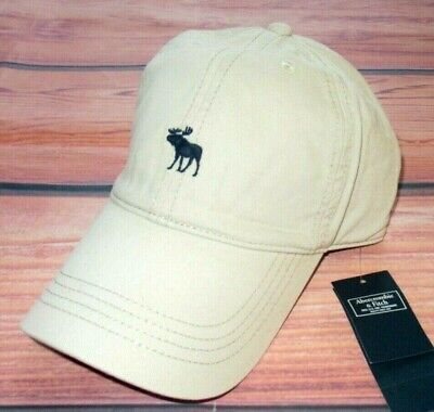 MENS ABERCROMBIE & FITCH MOOSE KHAKI ADJUSTABLE DISTRESSED HAT CAP ONE SIZE