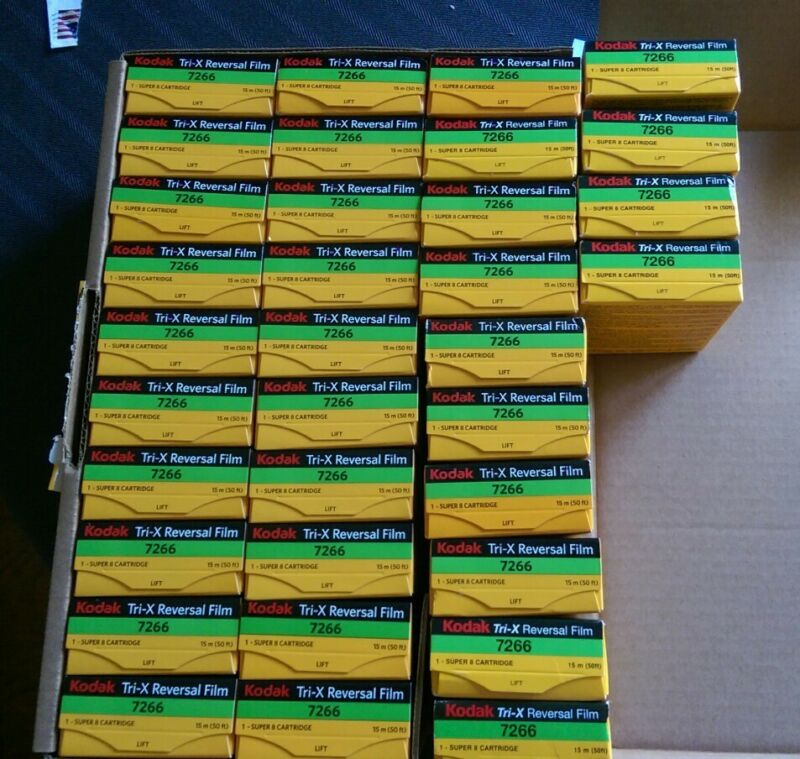 Kodak Tri-X 7266 B&W Super 8mm Movie Film Reversal Sealed 39 Boxes -  Sold Each