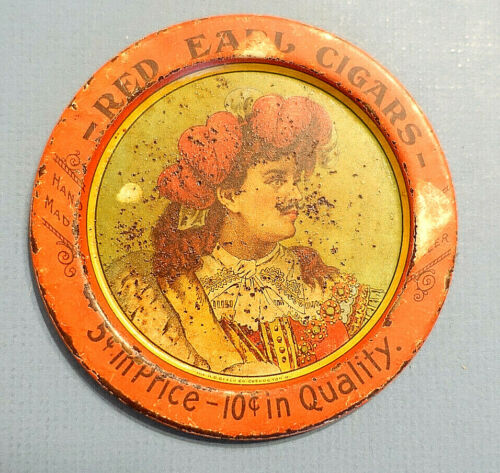 c.1905 RED EARL CIGARS TIP TRAY, H.D. Beach Co. Coshocton,Ohio