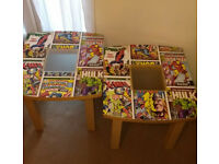 2 SIDE TABLES DECOUPAGD IN MARVEL DESIGN C/W GLASS CENTRES W49 X D53 X H45CM £8 EACH OR£15 FOR PAIR