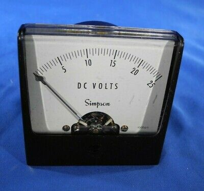 Simpson 0-25 Volts Power Supply Dc Volts Panel Meter 1000 Ohmv