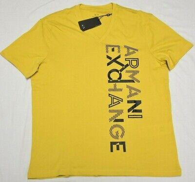 Armani Exchange T-Shirt Men Side Logo Regular Fit V-Neck Graphic Tee Yellow Q017 Side Logo Tee