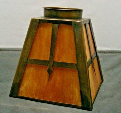 Arts & Crafts Mission square Brass Frame shade Slag Glass Dark Caramel