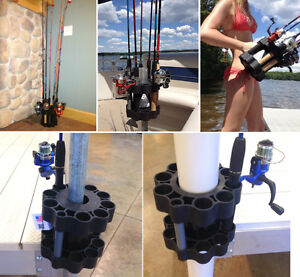 Fishing Rod Pole Holder Retainer Carrier Mount Dock Post Boat Holds up to 9