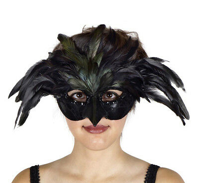 Feathered Black Raven Swan Sexy Bird Adult Halloween Costume Mask