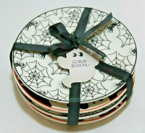 Grace Goblin & Ghoul Halloween Appetizer Plates Set of Four New