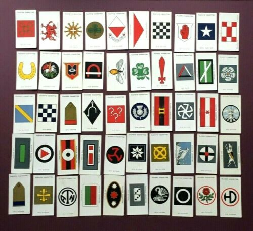 PLAYERS 1924 - ARMY CORPS & DIVISIONAL SIGNS (1914-1918) - SET OF 50 - VG COND.