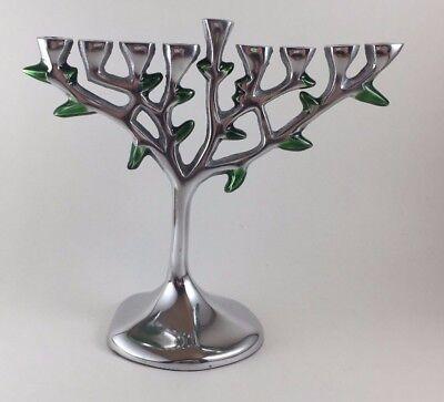 Tree of Life Chanukah Menorah Aluminum Contemporary Hanukkah Israel Giftware