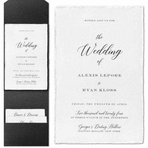 Personalized Wedding Invitations & Pocket Traditional Deckled Edge Thermography