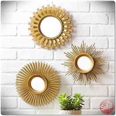 Up to the minute Mirror Style Set 3 Pieces Home Living Room Wall Decoration Gold Decor New