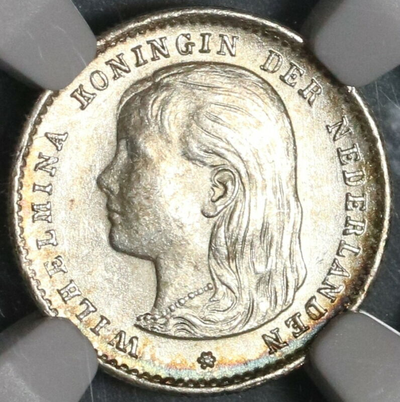 1897 NGC MS 63 Netherlands 10 Cents Queen Wilhelmina Silver Coin (20020302C)