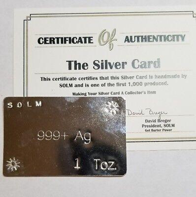 Hand Made 1 Oz 999 Silver Card Barter Prepper Money Art Bar Suns Of Liberty Mint