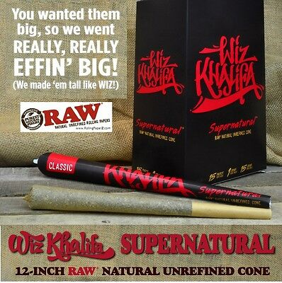 One Pack Supernatural Pre Rolled Raw Wiz Khalifa Rolling Paper 12  Long Cone