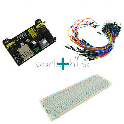 MB102 Power Supply Module 3.3V 5V+Breadboard Board 830 Point+65PCS Jumper cable