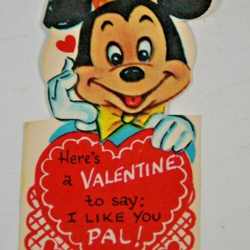 c 1930s 1940s Disney Valentines Mickey Mouse I Like You Pal Diecut Made in USA
