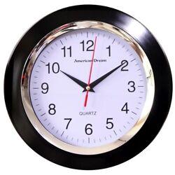 Black Wall Clock 10 Inch Round -  Modern Wall Clock Quiet Non Ticking