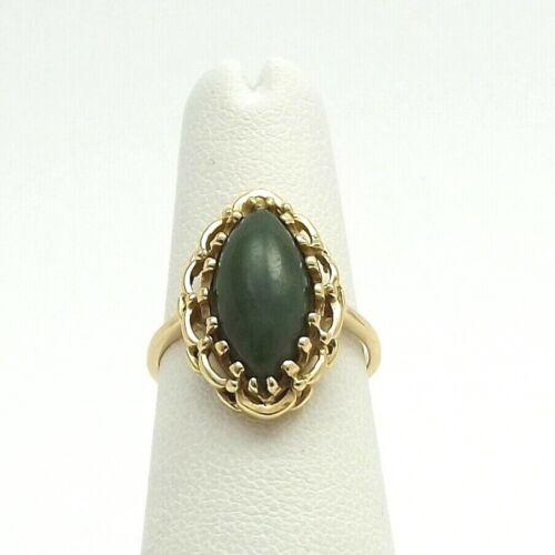 Vintage 14k Gold Green Jade Marquise Shape Navette Ring sz6