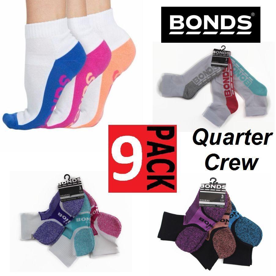 Womens BONDS 3 PACK Pairs Sports Quarter Crew Socks Shoes White Size 3-8 /& 8-11