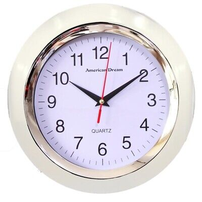 White Wall Clock 10 Inch Round - -  Modern Wall Clock Quiet Non Ticking 10 Wall Clock