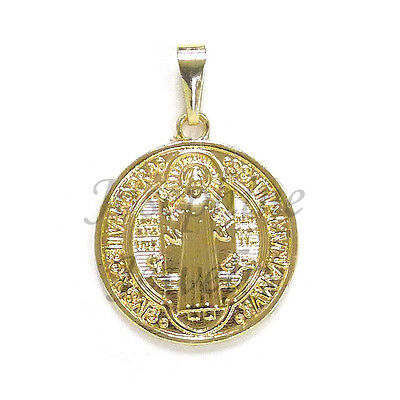 14k Gold Plated Saint Benedict San Benito Large Charm Medal Pendant ON SALE!!!
