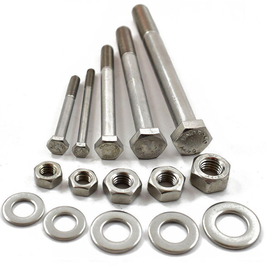 M8 A4-70 Marine stainless steel thread hexagon head bolt nyloc locking nut 25mm