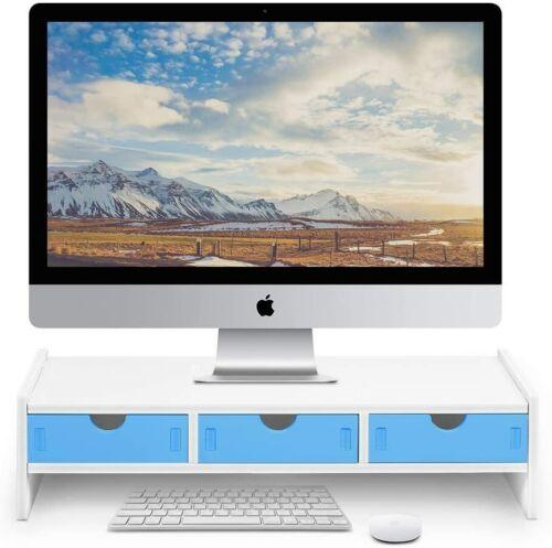 Monitor Stand Riser, Computer Laptop Riser Shelf with 3 Organizer Drawers