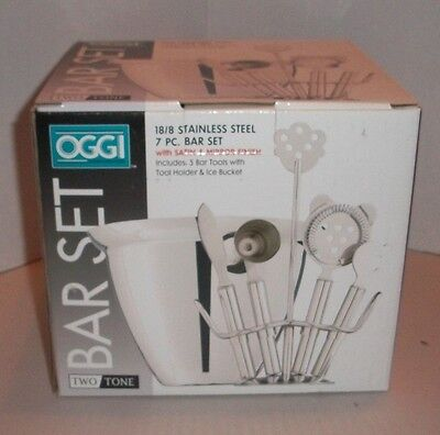 7 PC BAR SET 5 BAR TOOLS w/HOLDER & ICE BUCKET NEW MIB OGGI 18/8 STAINLESS STEEL