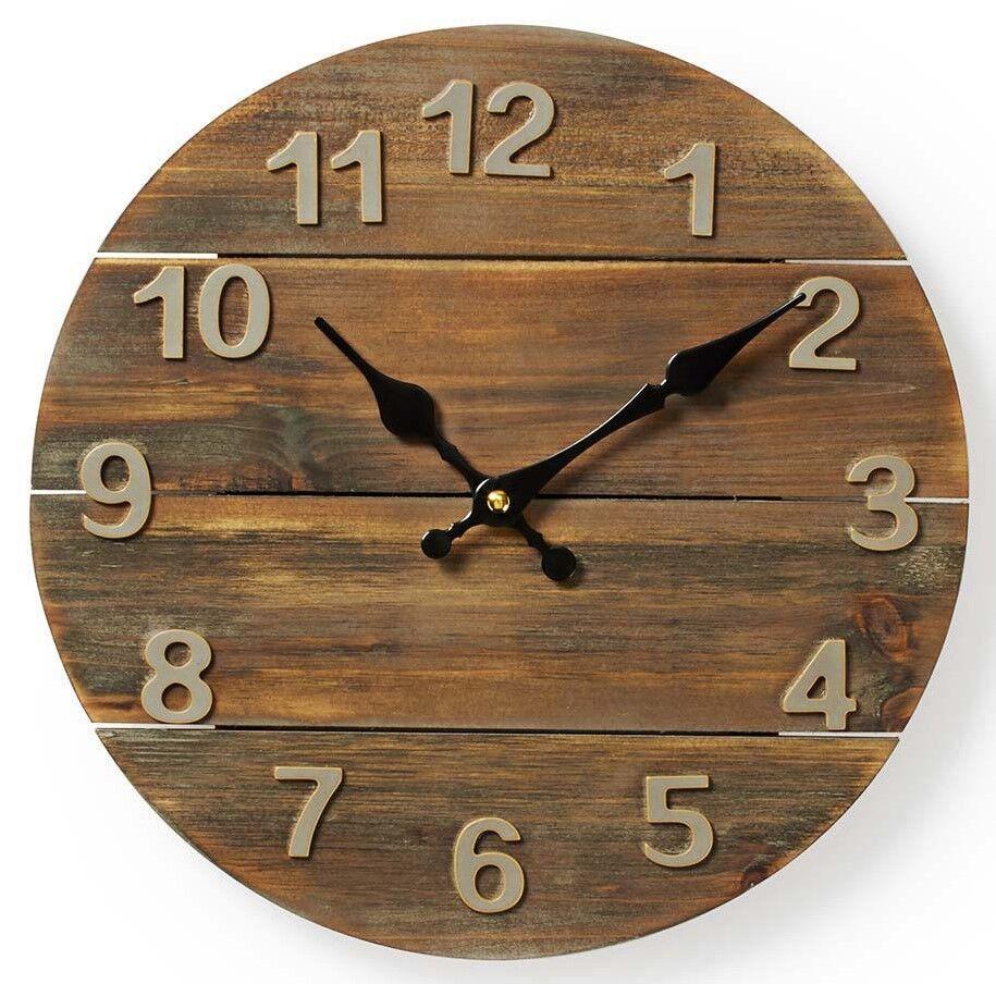 Moderne Holz Wanduhr A91 Vintage Retro Rustikal Große Wand Uhr Rund Analog Groß