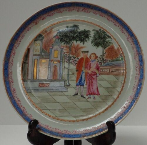 "Chinese Antique Qianlong 18th c. Rare Mandarin Plate - ""Turkish Interpreters"""