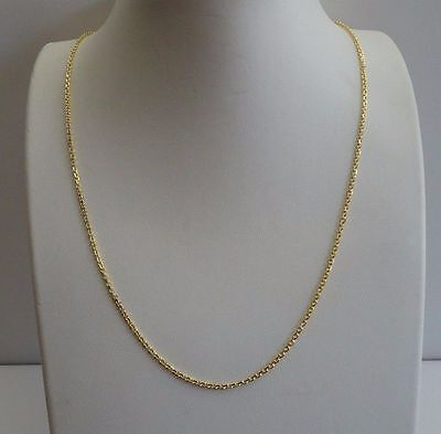 Long Italian - 18K YELLOW GOLD OVER 925 STERLING SILVER ROLO CHAIN / 18'' LONG / ITALIAN MADE