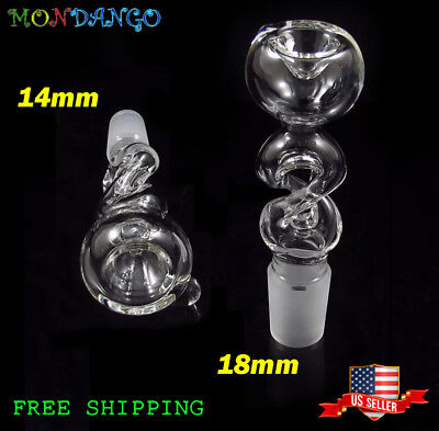 Clear Glass Slides - 14mm  or 18mm Joint Clear Spiral Twist Glass Slide Bowl FreeShipping USA