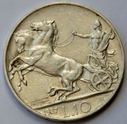 10 Lire 1927 Italy, Vittorio Emanuele III, Biga, Silver coin