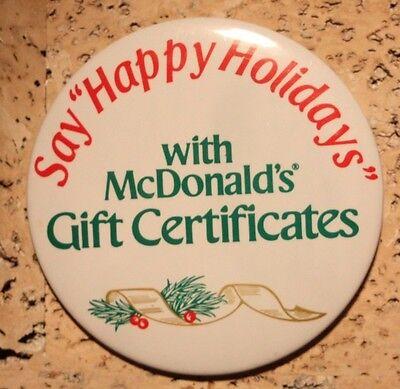 "McDonald's ""Gift Certificates"" Vintage 3"" Pinback Button"
